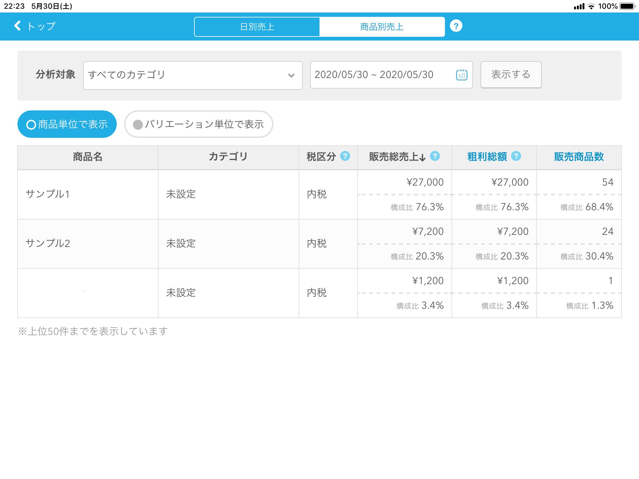 Airレジの便利機能② 統計データ