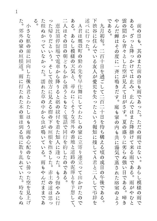 1ページあたりの文字数とレイアウト1
